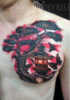 See more Red sun dark night tattoos on chest