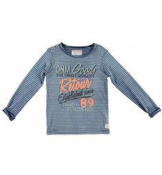 Leuk gestreept shirt van Retour Jeans met lange mouw en ronde hals (raw edges). Op de voorkant een grote gekleurde vintage print.  Retour Jeans Reece www.kidsindustry.nl