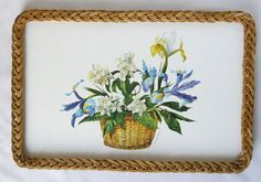 Vintage woven wicker edge serving tray melamine 1950s-60s, day lilies & irises