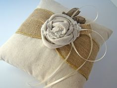 Rustic Bridal Wedding Ring Pillow Burlap Natural.  I can make this for you if you like @Juliana Le
