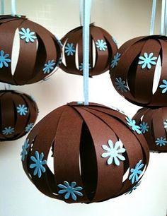 Blue & brown hanging balls