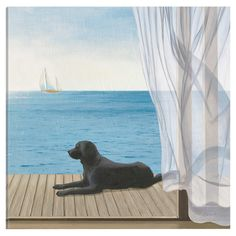 A charming addition to your sunroom or den, this lovely canvas print features a seaside dog motif.   Product: Canvas print ...