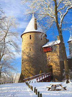 Castell Coch in Snow, Tongwynlais, Cardiff, South Wales, Wales, United Kingdom,