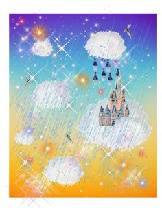 """""""fairy castle in the clouds"""" by pixelstyle1010 ❤ liked on Polyvore featuring art, colours, rainbows and artset"""