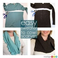 How to Make Cowl Scarves from Old Sweaters