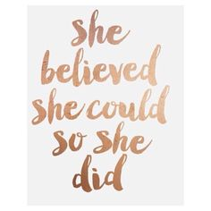 """Inspirational Print """"She Believed She Could So She Did"""" Quote PRINTABLE Rose Gold Print, Decor, Motivational Poster, FleurtCollective"""