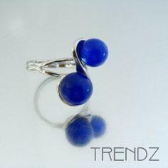 Anillo azul ajustable bañado en rodio |  Rhodium plated adjustable blue ring