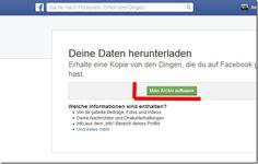 Facebook Daten downloaden