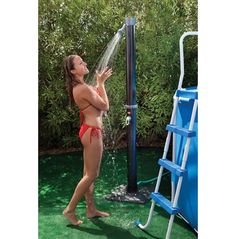 """Outdoor Solar Pool Shower with Base"" Take warm water outdoor showers with no energy costs! Need this for my future pool Solar Shower, Pool Shower, Shower Tent, Pool Garden, Garden Hose, Garden Art, Rive Nord, My Pool, Gardens"