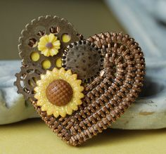 Steampunk And Sunflowers Vintage Zipper Brooch by ZipperedHeart