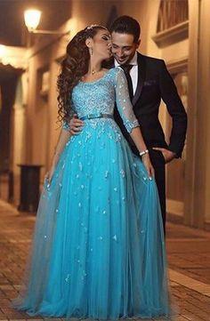Round Neck Applique Bodice Long Tulle Prom Dresses Evening Dresses