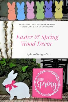 Darling Handmade Home Decor for Easter & Spring~   Bunnies... Signs... did I mention Bunnies!