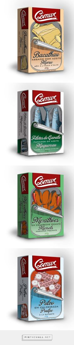 Comur canned fish by Ana Lucas. Source: Behance. Pin curated by #SFields99 #packaging #design