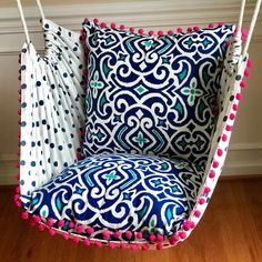 new house options I just completed this beautiful hammock chair today. The bold color contrast of dark royal blue and hot pink is absolutely stunning! Cushion fabric designed by Dwell Studio for Robert Allen Home. Pattern/Color: New Damask/Marine Ikea Chair, Chair Bed, Diy Chair, Chair Cushions, Swivel Chair, Outdoor Hammock Chair, Diy Hammock, Outdoor Lounge, Outdoor Dining