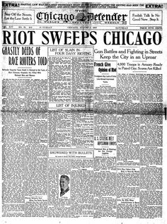 "The Chicago Race Riot of 1919 started on July 27, 1919, and ended August 3, 1919. Dozens of people were killed and hundreds were injured. The Chicago Race Riot was considered to be one of the worst riots during the ""Red Summer"". The summer of 1919 was called ""Red Summer"" because there was more than three dozen cities rioting during the summer."