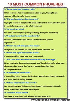 10 Most Common Proverbs - use this with a study of Biblical Proverbs to understand what a proverb is.