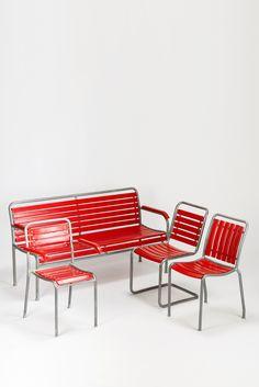 Swiss garden set 1950 Outdoor Chairs, Outdoor Furniture, Outdoor Decor, Sofa Chair, Balcony, Sofas, Garden, Home Decor, Cantilever Chair