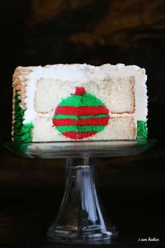 Christmas ornament cake- Here, we share her completed Christmas-themed ornament surprise cake along with the tutorial she created for the same design (but in different colors). The great thing about this cake tutorial? You can choose any colors you want!