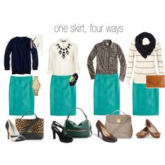 """Capsule Wardrobe: """"pencil skirt, four ways."""" Each bottom should give you outfits. Green Pencil Skirts, Pink Pencil Skirt, Pencil Skirt Outfits, Red Pencil, Turquoise Skirt, Teal Skirt, Work Fashion, Modest Fashion, Fashion Basics"""