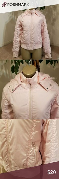 Pink Jacket Pink Jacket  Zippered pockets  Removable hoodie  Size Large  Pre-loved   Bundle 5 items listed as 5 for $25 and I will send you the $25 deal 😉  THIS ITEM IS NOT PART OF THE 5/$25 DEAL Jackets & Coats Puffers