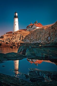 Portland Head Light In Cape Elizabeth, ME is situated along shores of Fort Williams Park. Portland Head Light is the oldest lighthouse in Maine and welcomes nearly a million visitors a year. Maine Lighthouses, Lighthouse Pictures, Vacation Spots, East Coast, Places To See, Costa, Beautiful Places, Scenery, Around The Worlds