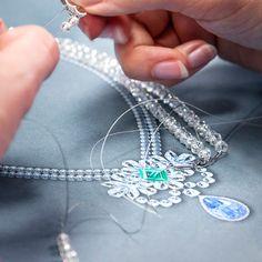 Graff's Designer carefully threads hundreds of individual faceted diamond beads onto a new creation destined for La Biennale Paris 2014. #GraffDiamonds