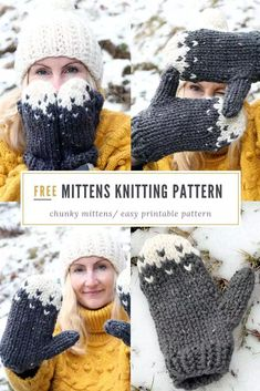 Free Mittens Knitting Pattern - Make a pair of super chunky cold weather mittens. Free Mittens Knitting Pattern - Make a pair of super chunky cold weather mittens. Knitting , lace processing is just a. Knitted Headband Free Pattern, Knitted Mittens Pattern, Chunky Knitting Patterns, Knit Mittens, Loom Knitting, Free Knitting, Knitted Hats, Vogue Knitting, Scarf Patterns
