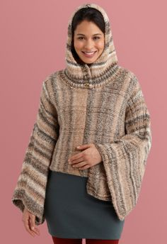 Hooded Poncho in Lion Brand Tweed Stripes - Discover more Patterns by Lion Brand at LoveKnitting. The world's largest range of knitting supplies - we stock patterns, yarn, needles and books from all of your favorite brands. Hooded Cape Pattern, Hooded Poncho, Crochet Shawls And Wraps, Crochet Poncho, Free Crochet, Sweater Knitting Patterns, Free Knitting, Knitting Ideas, Crochet Patterns