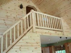 Our log railings and stairs give your home a unique rustic appearance that looks great throughout the year. Buy cedar and pine log railing systems online! Wood Railings For Stairs, Rustic Staircase, Interior Stair Railing, Stair Railing Design, Staircase Ideas, Loft Staircase, Railing Ideas, Exterior Angles, Rustic Interiors