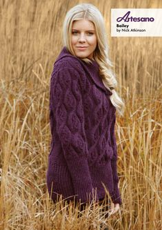 Bailey Sweater in Artesano Aran. Discover more Patterns by Artesano at LoveKnitting. The world's largest range of knitting supplies - we stock patterns, yarn, needles and books from all of your favorite brands.