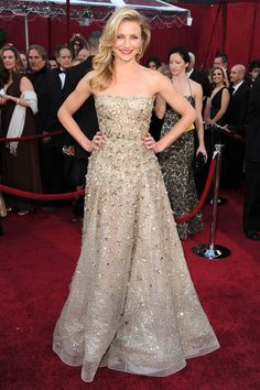 What: Oscar de la Renta Where: Academy Awards in 2010 Why: Diaz is known for her fun looks on the red carpet—and this gown showed off a more demure and ladylike side.    - HarpersBAZAAR.com
