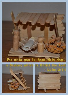 DIY Christmas Nativity. Kids can make this craft from popsicle sticks.