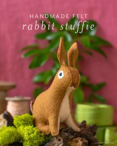 How to Make Your Own Felt Rabbit Stuffie - Lia Griffith Baby Crafts, Felt Crafts, Easter Crafts, Felt Bunny, Coloring Easter Eggs, Diy Easter Decorations, Felt Fabric, Handmade Felt, Felt Toys