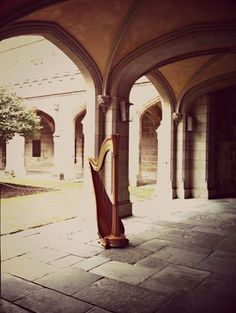 Photo: The harp in the cloisters of Old Quad, Melbourne Uni