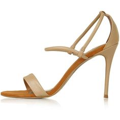 TopShop Romeo Soft Two-Part Sandals featuring polyvore women's fashion shoes sandals camel leather strap sandals topshop high heel sandals strappy high heel shoes leather strappy sandals