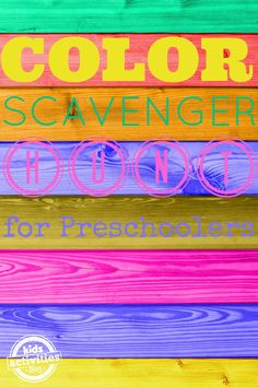 Color scavenger Hunt for Preschoolers. Fun indoor color learning activity for toddlers and preschoolers using items from around the house.