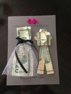 Geldscheine falten Kleid - Hochzeitskarte basteln