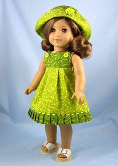 18 Zoll Puppenkleider - Sommerkleid und Hut - passt American Girl - tropischen Licht und dunkel Nilgrün Drucke