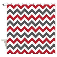 Black and Red Chevron Shower Curtain   Bathroom accessories