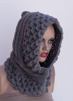 hooded cowl crochet   Crocodile Hooded cowl ,Gray Crochet handmade ,womens knit hats, dragon