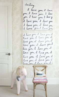 I Love You Artwork - so gorgeous in this girly, pink nursery!