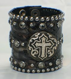 #CustomMade #leather studded wrist cuff by www.RebelGirl.com