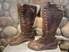 Vintage 40s WW2 WW II US Army Tall Leather Military Combat Mens Work Motorcycle Jump Boots