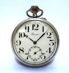 Antiguo Reloj Bolsillo Suizo PREVOTE Open Face por shopvintage1