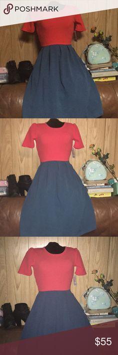 💚Lularoe Amelia • Red & Cloudy Sky Blue Bright red and dark sky blue. Cute Dress has pockets. LuLaRoe Dresses