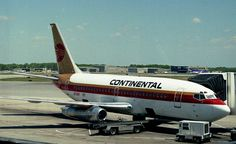 "Boeing 737–200 with Continental's 1968–1991 ""meatball"" logo and airplane livery designed by Saul Bass  This is what the planes looked like when I was hired by Continental in 1987"