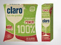 Die neue Zero-Waste-Verpackung der claro - 100%-Produktlinie: eine plastikfreie Verpackung, hergestellt aus 100% recyclingfähigen Kartonagen aus Graspapier. Die neuen Kartonagen lassen sich problemlos recyceln oder schlicht kompostieren. • #Dinkhauser #packit! #claro #packaging #wellpappe #nachhaltig #plasticfree #keinplastik #klimaneutral #recycling #verkaufsverpackung #verpackungsdesign Gras, Facial Tissue, Zero, Personal Care, Paper, Packaging Design, Recyle, Self Care, Personal Hygiene