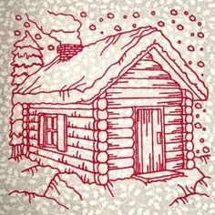 """This free embroidery design is called """"Christmas Cabin""""."""