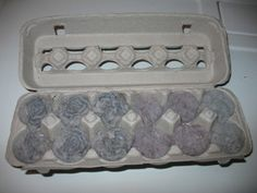 """Practically Free Egg Carton Dryer Lint Firestarters      Now I know after you read my firestarting post you wanted some of the egg carton firestarters for yourself, didn't you?     Here's what you'll need:  Dryer lint–any variety will do.  Egg carton–doesn't matter if it's a dozen, 18 or the """"flats"""" as long as it's the pressed paper kind, NOT styrofoam or"""