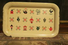 vintage tin tray country decor by MyVintageAngels on Etsy, $24.00